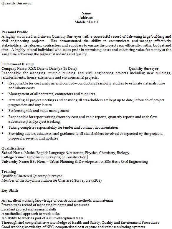 Quantity Surveyor CV Example - icover.org.uk