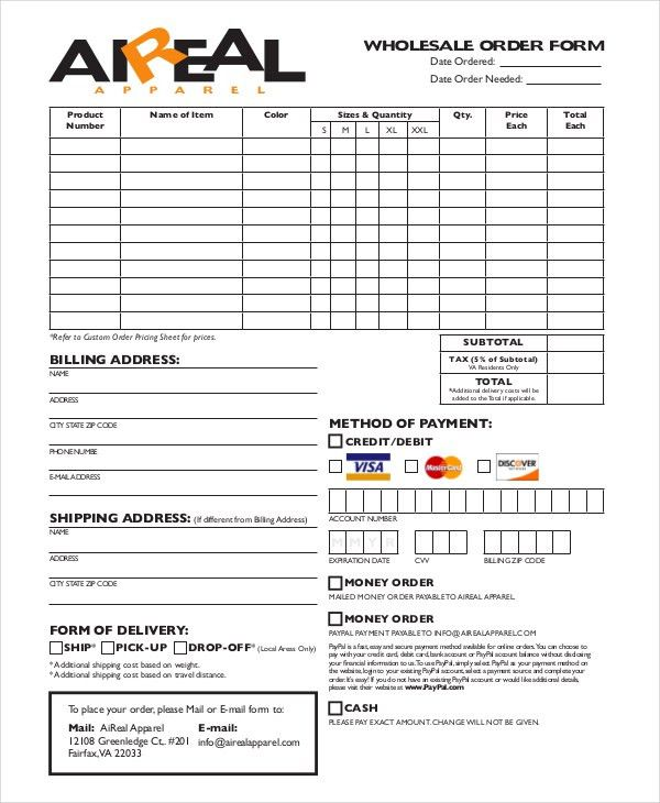12+ Apparel Order Forms - Free Sample, Example, Format Download ...