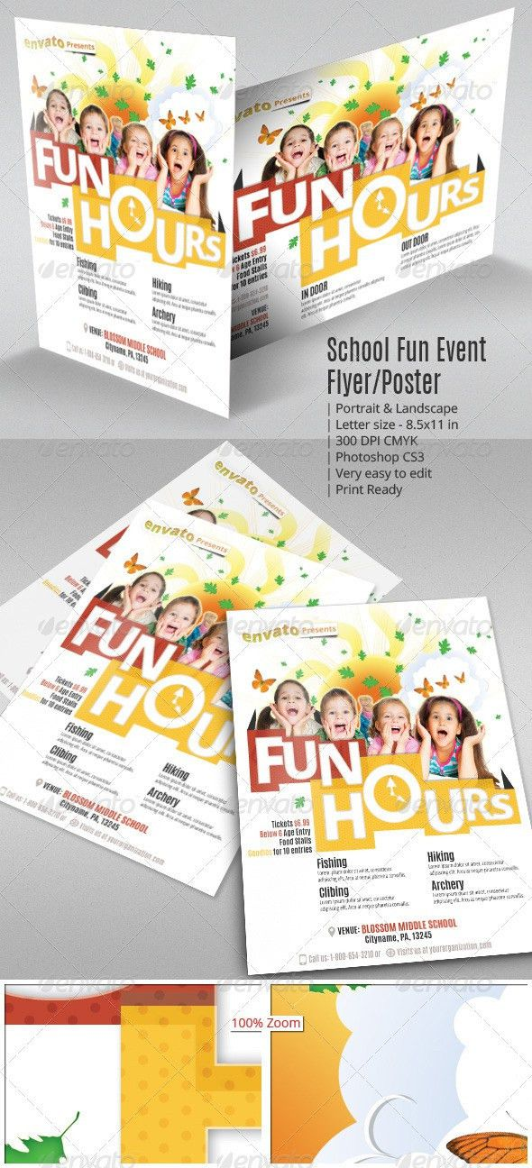 School Fun Event Flyer or Poster — Photoshop PSD #preschool #games ...
