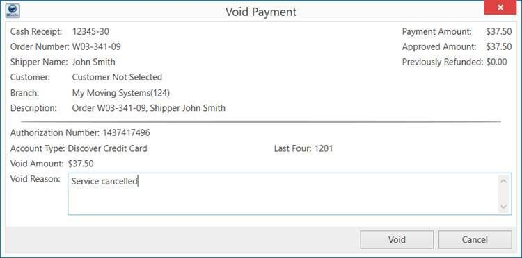 Electronic Payment Void Receipt