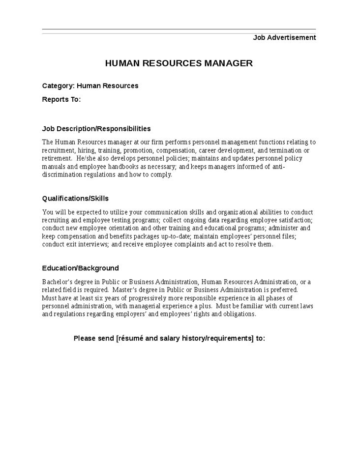 Exceptional Human Resources Manager Job Description Template U0026 Sample Form Why Human  Resources Is Important In An