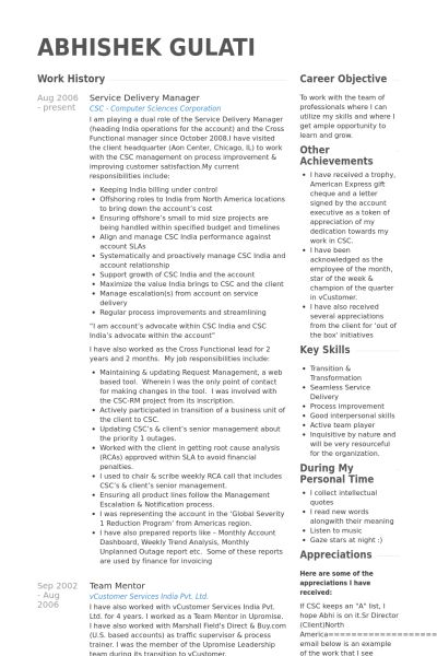 Service Delivery Manager Resume samples - VisualCV resume samples ...