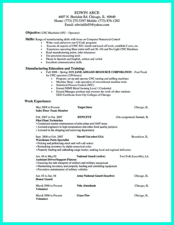machinist resume objective field sales and application engineer