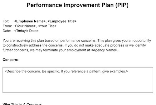 Performance Improvement Plan (PIP) template for agencies