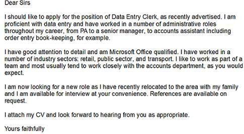 Data Entry Clerk Cover Letter Example - Learnist.org