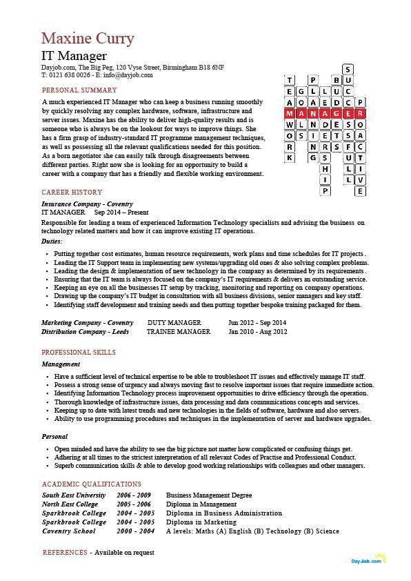 IT manager CV sample, managerial resume, team leader, career ...