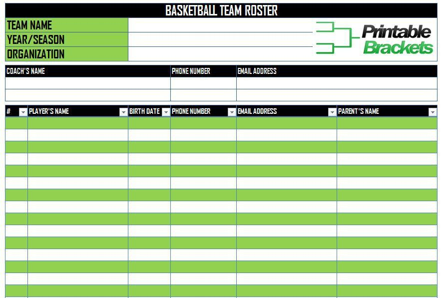 Basketball Roster Template | Basketball Team Roster Template