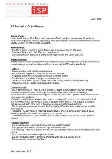 Production Manager Job Description. Job Summary: Production ...