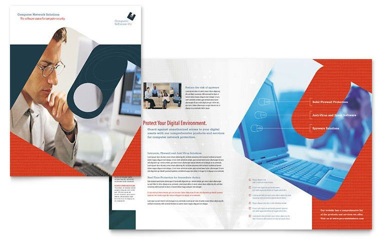 Computer Software Company Brochure Template - Word & Publisher