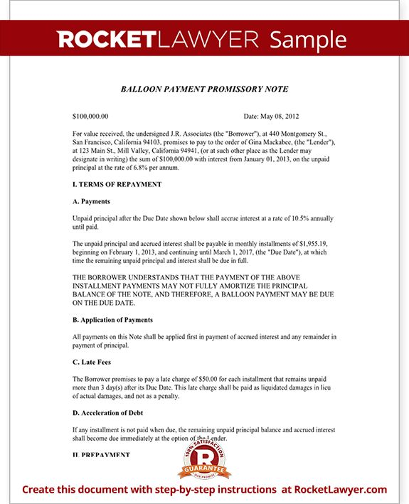 Promissory Note with Balloon Payment - Template Form with Sample