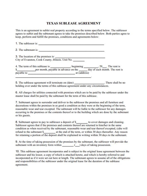 Texas Residential Sublease Agreement Template for Impressive Texas ...