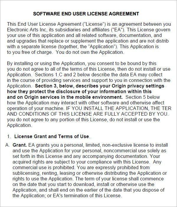 End User License Agreement - 6 Free Pdf , Doc Download