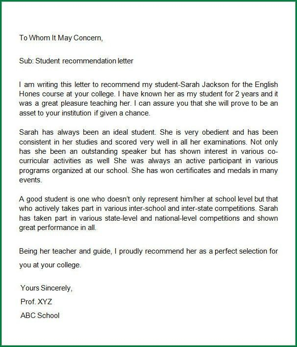 13 Letter of Recommendation Template Word   applicationsformat.info