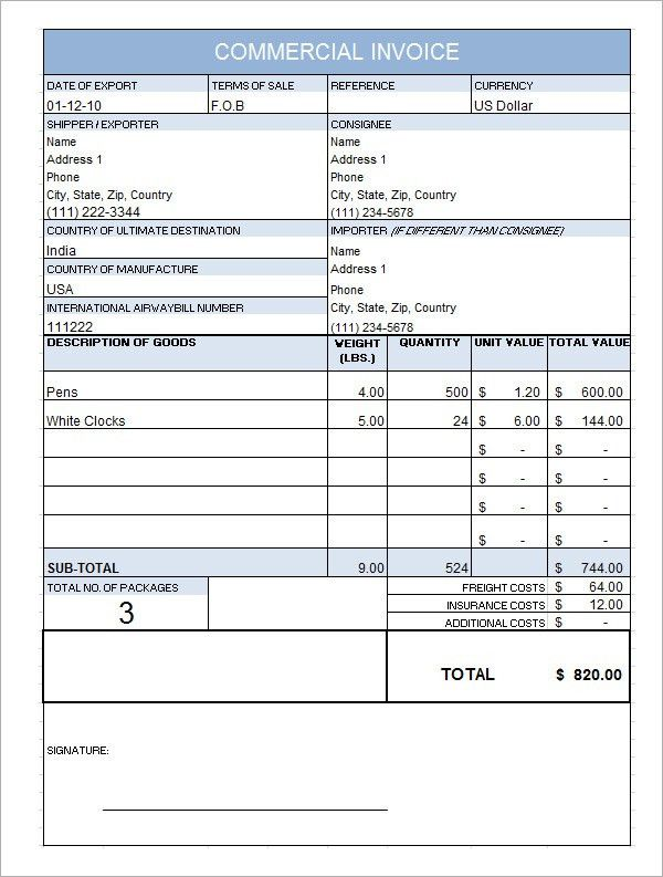 8 Best Images of Commercial Invoice Form Template - Free ...