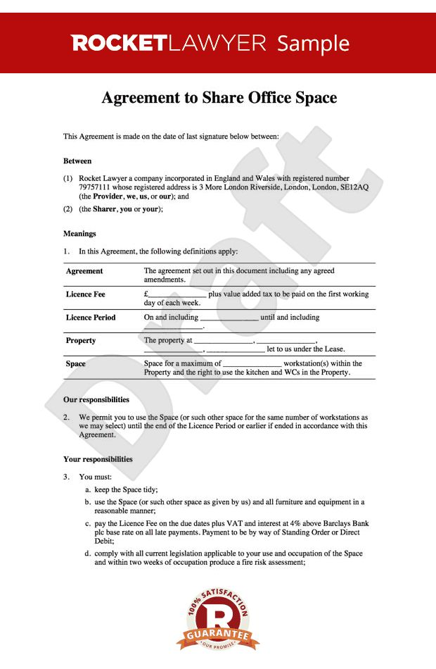 sharing agreement - Office rental agreement template - Share your ...