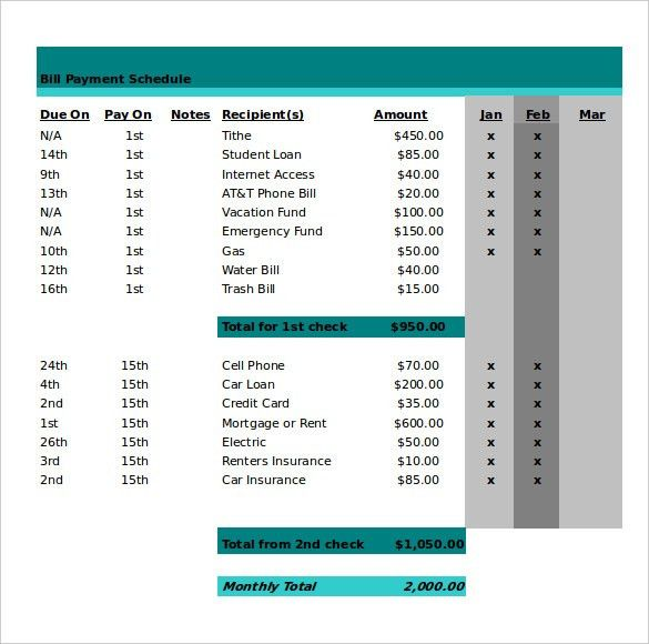 Monthly Work Schedule Template - 26+ Free Word, Excel, PDF Format ...