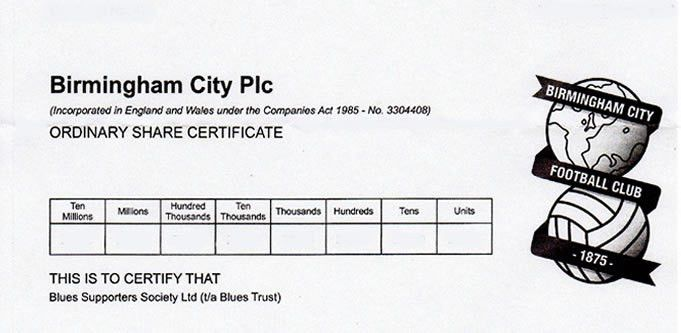 Acquisition of more shares in Birmingham City Plc | bluestrust.org