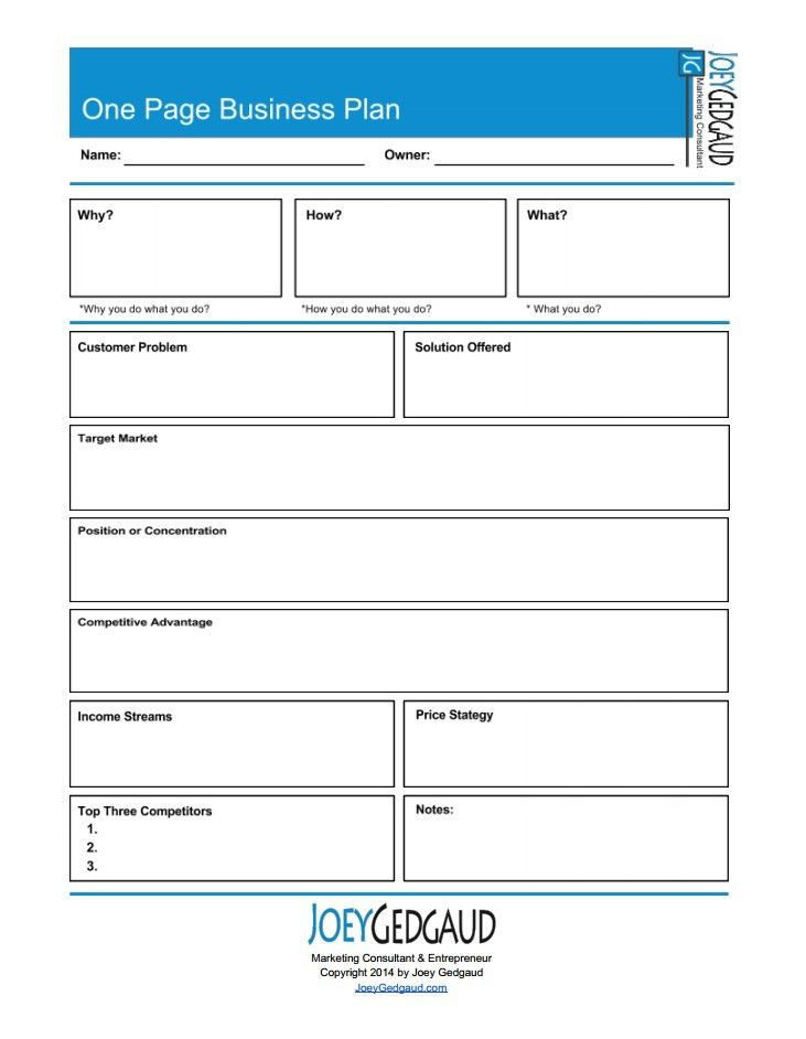 Free One Page Business Plan Template 2016 | Free Business Template