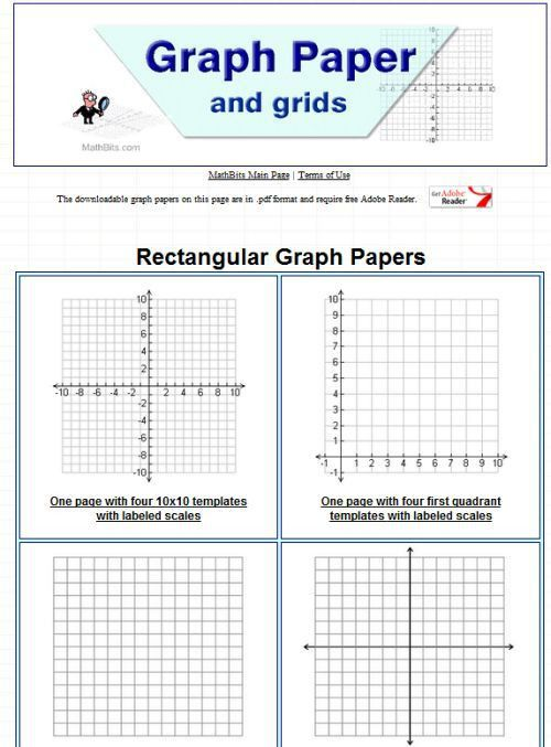 printable graph paper | Math Estimating/Data/Coordinate Grid ...