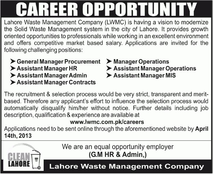Jobs in Lahore Waste Management Company (LWMC) for General Manager ...