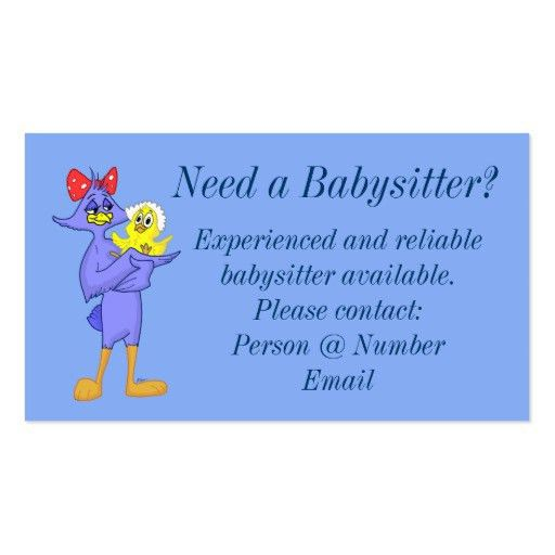 Babysitting service Business Card Templates | BizCardStudio