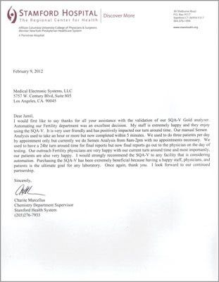Stamford Hospital Letter of Recommendation