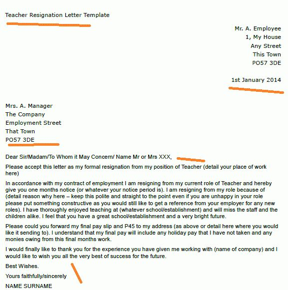 Teacher Resignation Letter Example - toresign.com