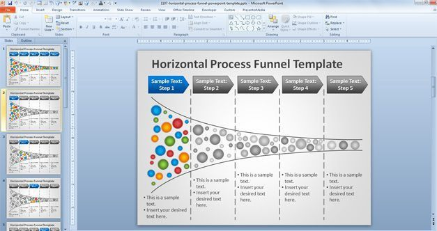 Free Horizontal Process Funnel PowerPoint Template - Free ...