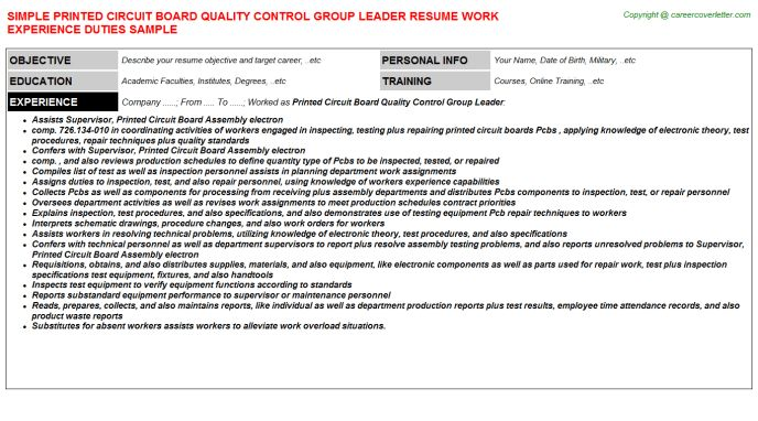 Printed Circuit Board Quality Control Group Leader Resume Sample