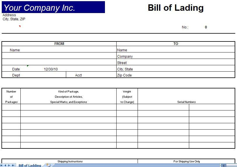 Bill Of Lading Template Excel : Selimtd