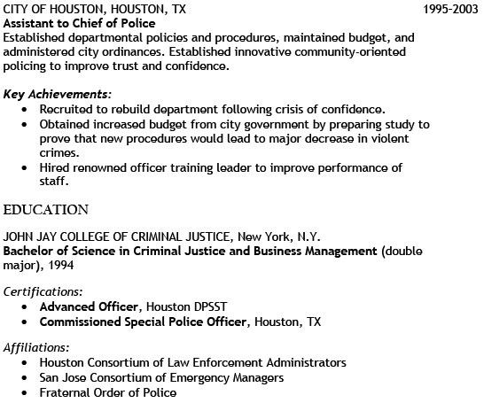 Sample resume chief of police