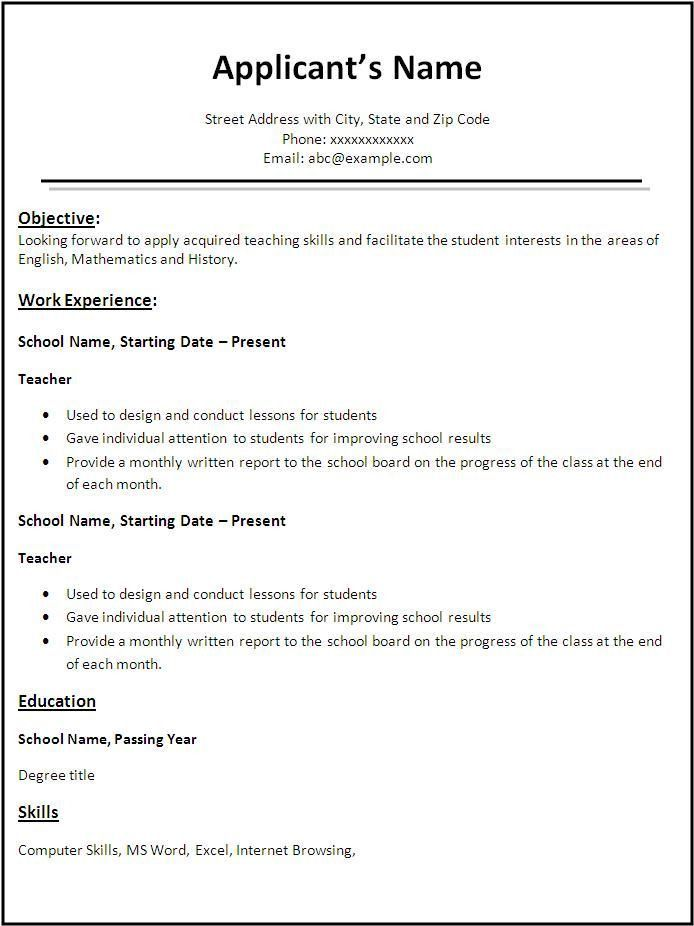 How To Write A Simple Resume Format. Sample Resume Sle Resume For ...
