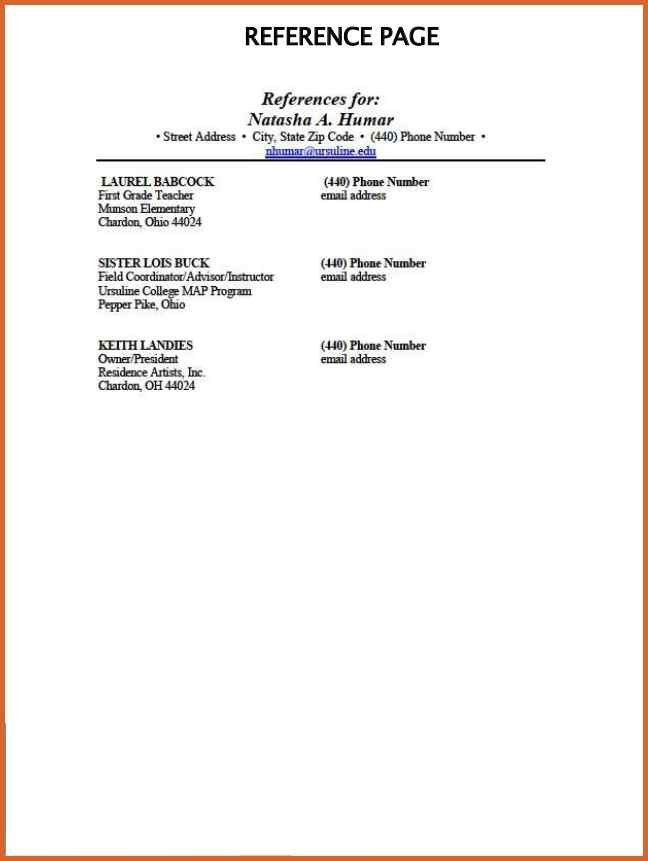 reference page template cv best list of references for resume dh ...