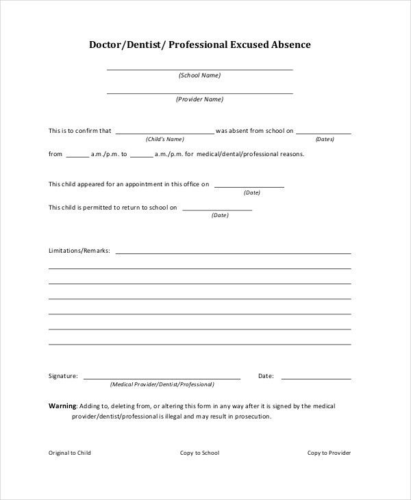 Doctors Note Template For School - 6+ Free Word, PDF Documents ...