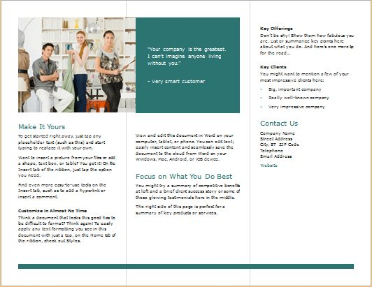 Tri Fold Brochure Template for MS WORD | Word & Excel Templates