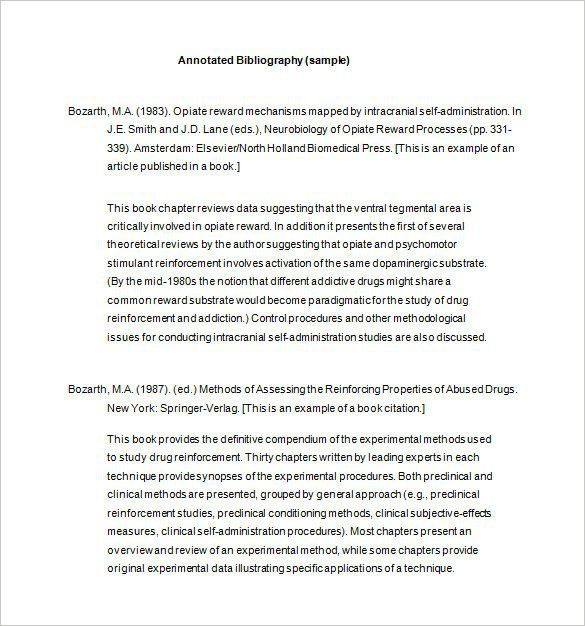 7+ Annotated Bibliography Templates – Free Word & PDF Format ...