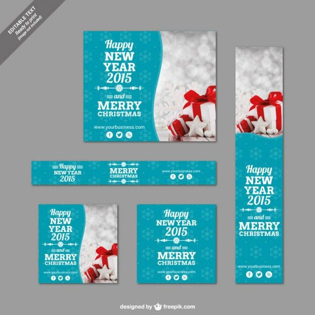 Christmas banner templates pack Vector | Free Download