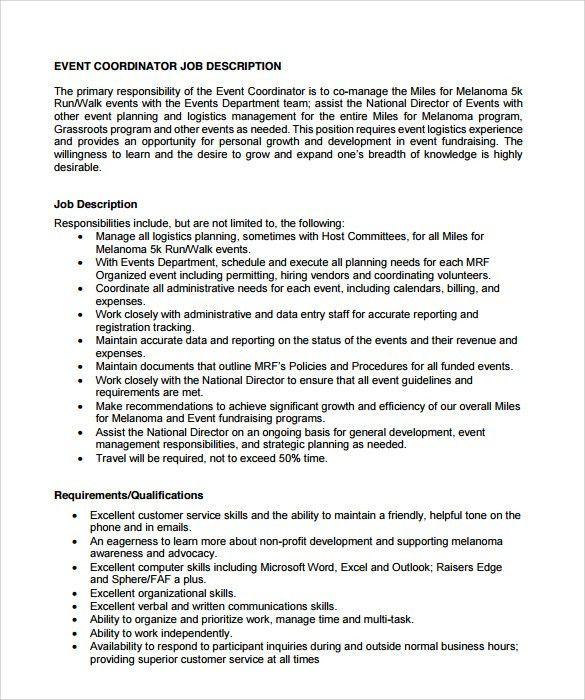Sample Event Coordinator Resume - 7+ Documents in PDF