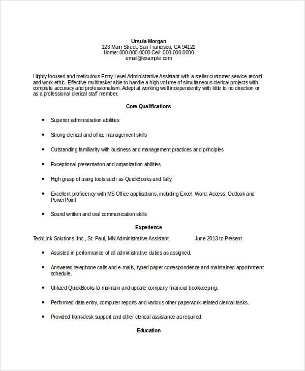 10+ Administrative Assistant Resumes - Free Sample, Example ...