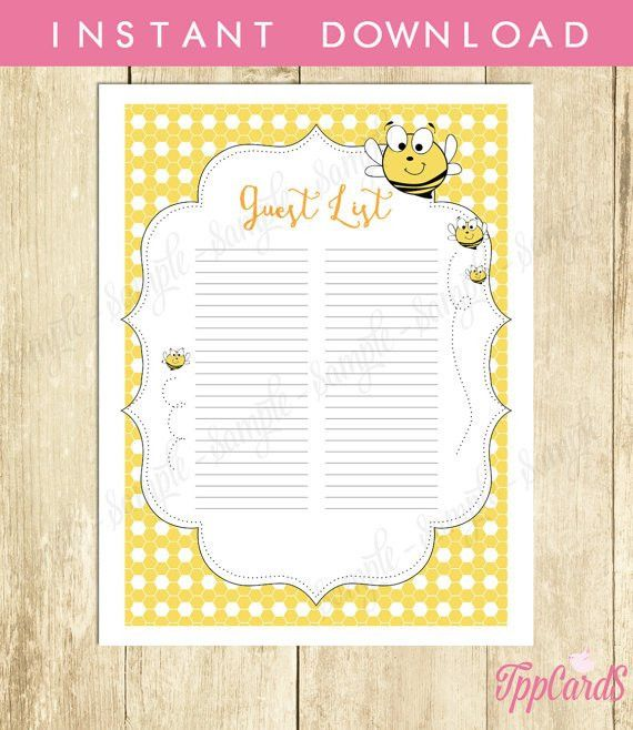 Instant Download Bee Guest List Printable Bumble Bee Baby Shower ...