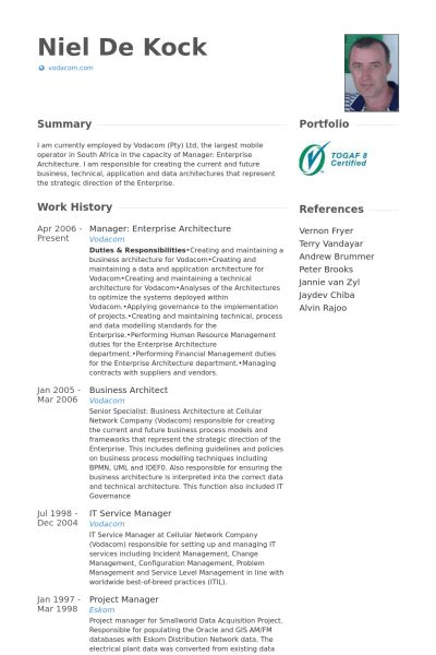 Enterprise Architect Resume samples - VisualCV resume samples database