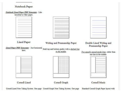 Free Graph Paper, Writing Paper, Music Paper and Other Specialized ...