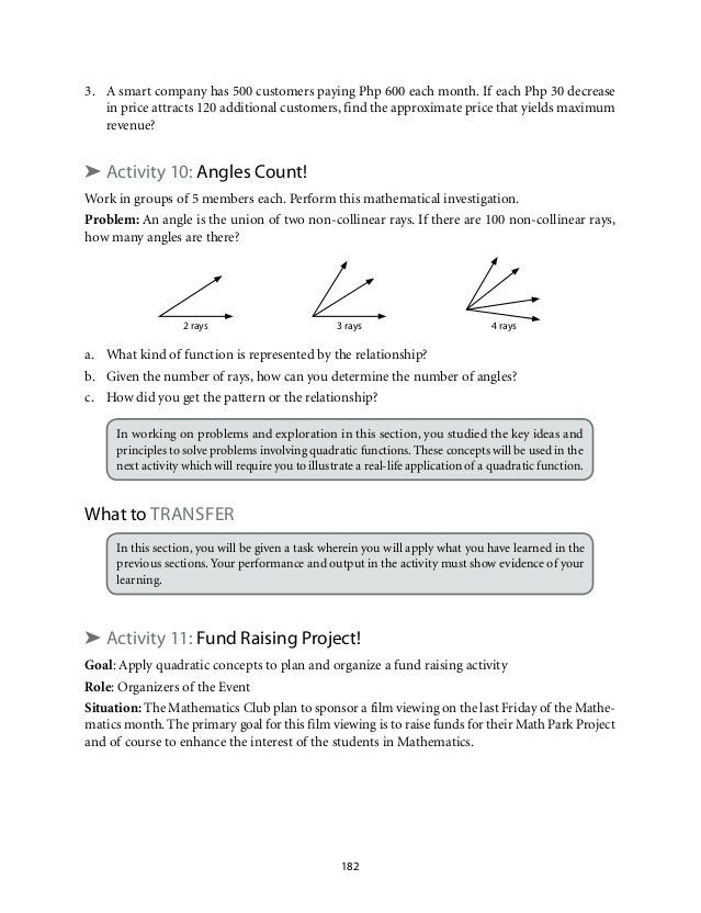 Grade 9: Mathematics Unit 2 Quadratic Functions.