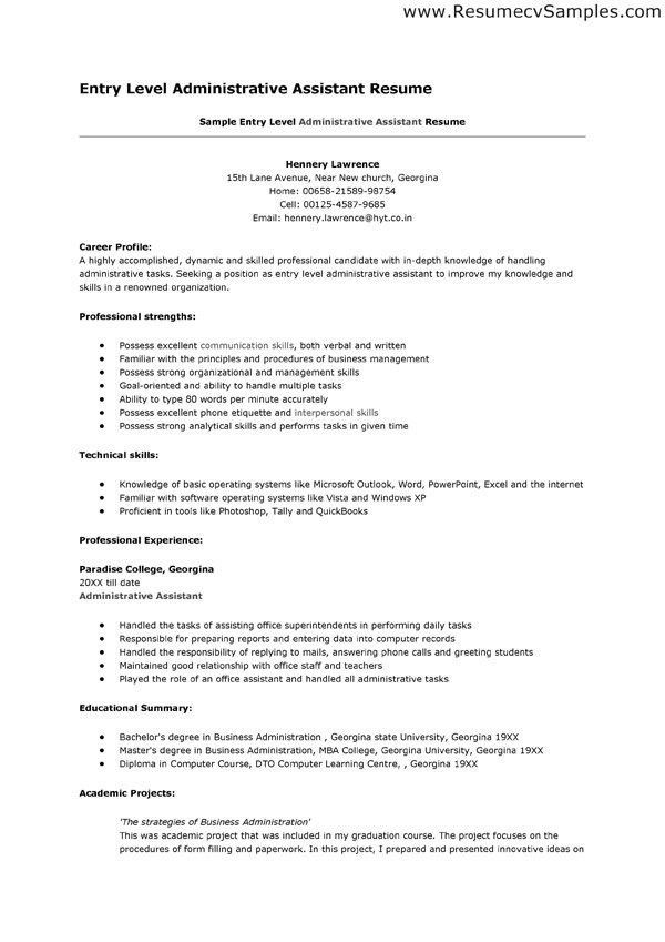 entry level administrative assistant resume - thebridgesummit.co