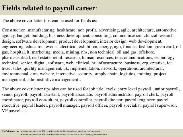 Top 10 payroll cover letter tips