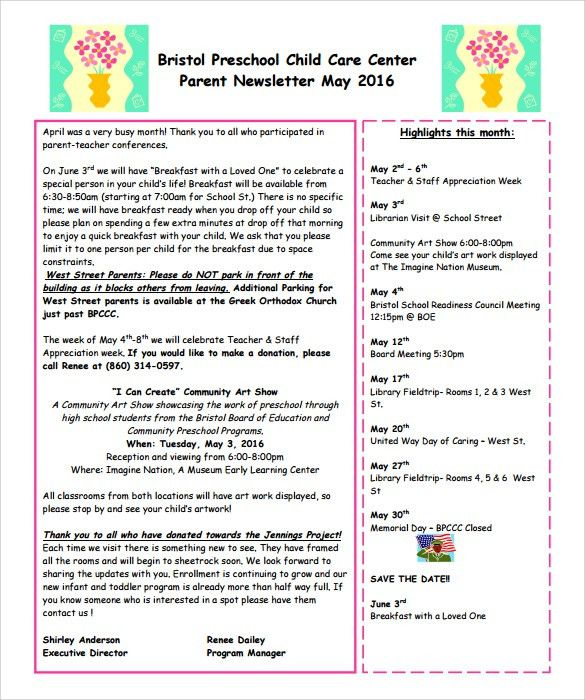 Sample Preschool Newsletter - 5+ Free Download for Word, PDF