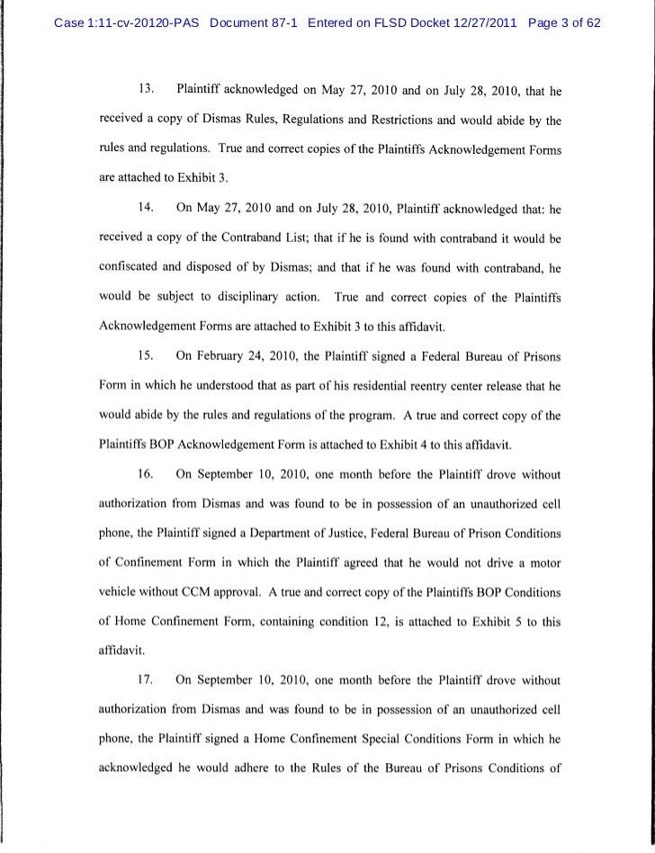 Affidavit in support of motion for summary judgment