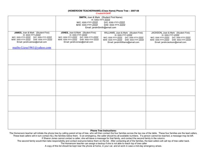 STM Phone Tree Template in Word and Pdf formats