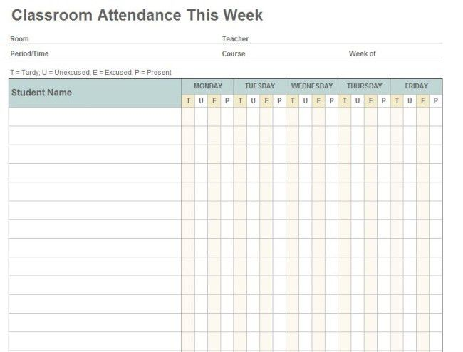 Efficient Weekly Classroom Attendance Sheet Template Example with ...