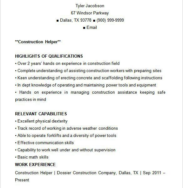Astounding Construction Resume Template 8 Construction Resume ...